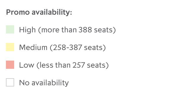 Promotion fare availability key