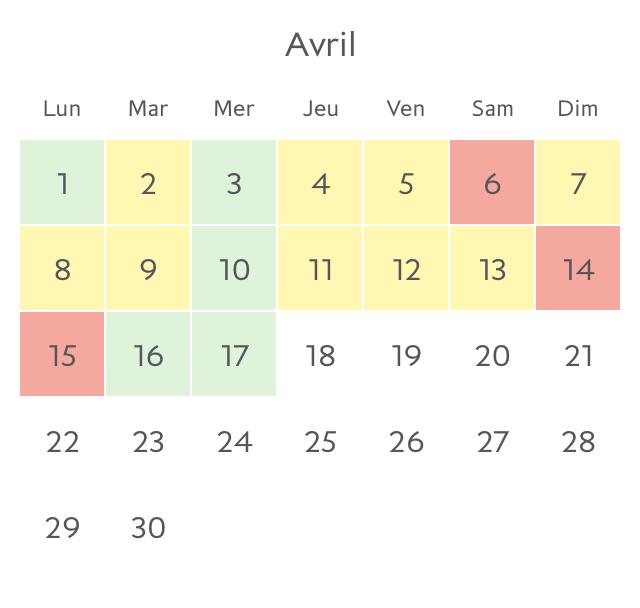 Disponibilité pour Avril