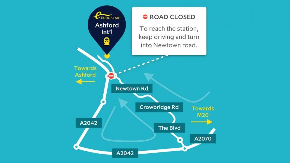 Ashford International Diversion Map