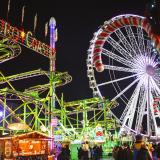 The big wheel and other rides at Winter Wonderland