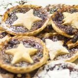 Close up of some mince pies decorated with pastry stars