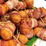 Plate full of pigs in blankets