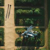 Aerial view of dragon made out of recycled cans