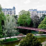View of the suspension bridge in the park