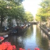 View along a canal from a bridge