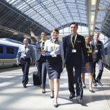 Eurostar staff on platform in St Pancras International