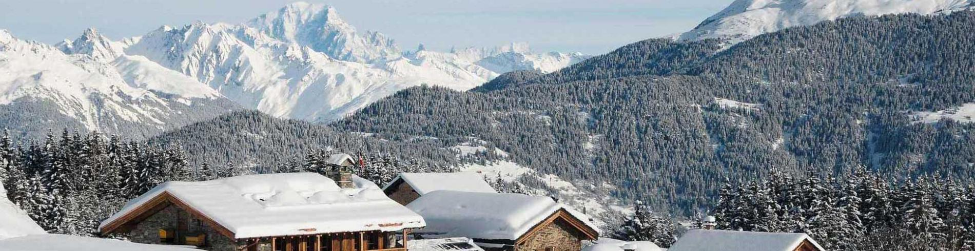 View over the village with snow topped chalets