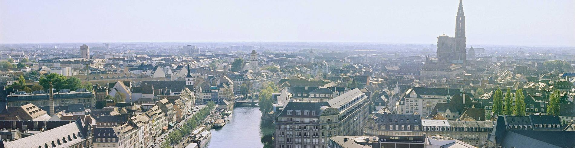 Panorama of the town of Strasbourg with the river
