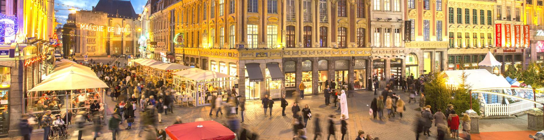 View of the Christmas market in Lille at night time