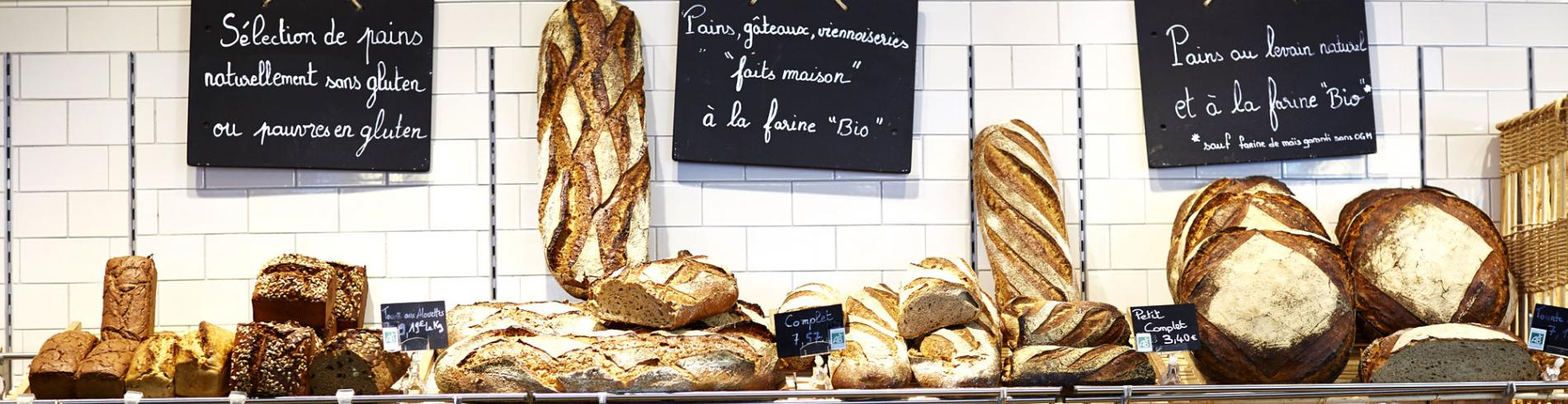 Shelves full of breads, cakes and pastries