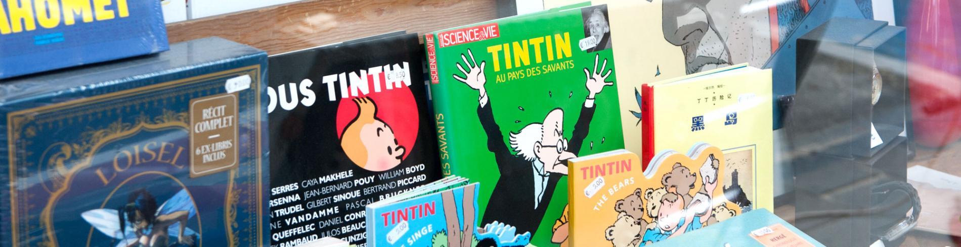 Tintin books in the window of a bookshop