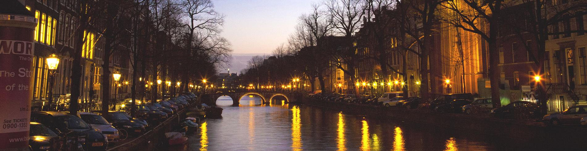 Amsterdam canal by night in winter