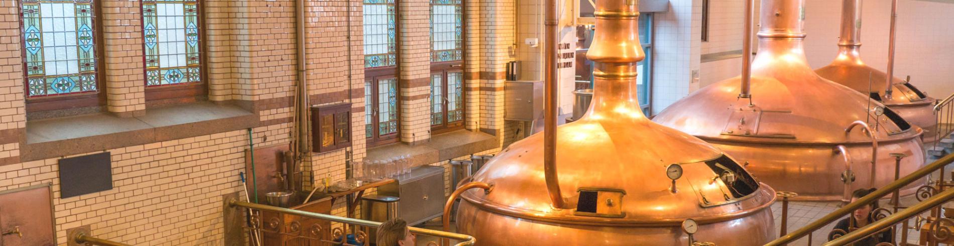 Massive copper beer vats in the Heineken brewery