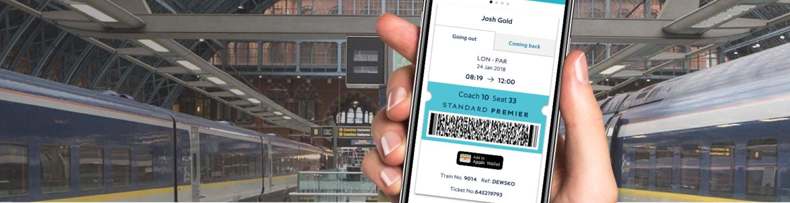 View of a smartphone showing a page on the Eurostar app