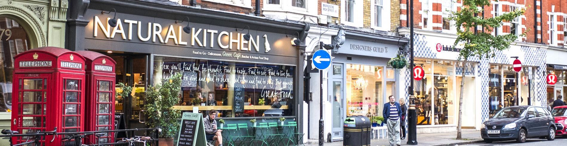 Shops and restaurants along Marylebone High Street