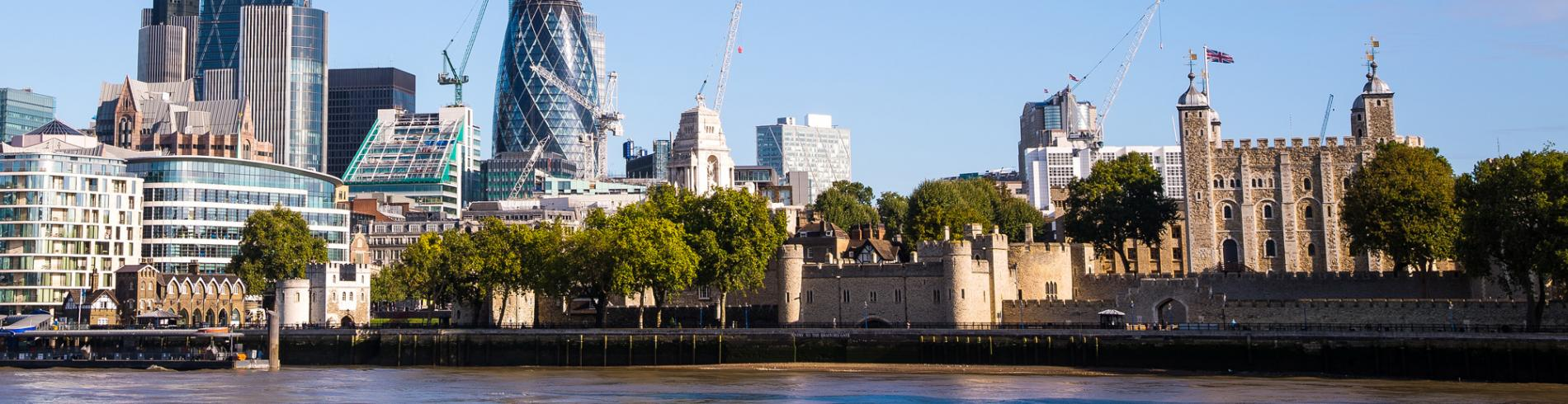 The Tower of London and the City from across the river