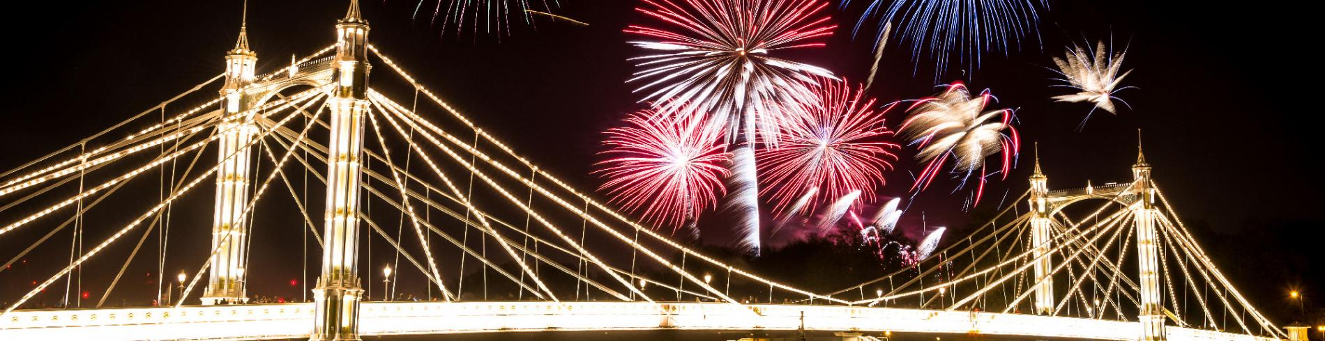 new year's eve fireworks above battersea bridge