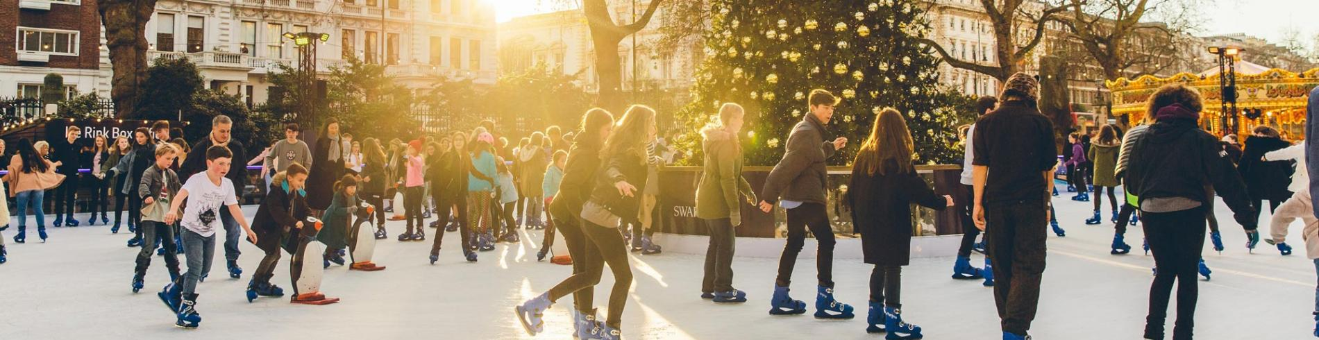 People skating on The Natural History Museum's annual ice-rink