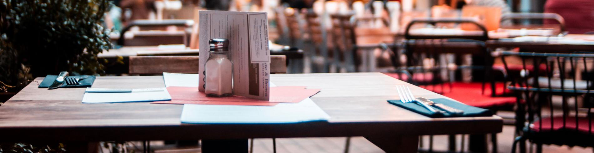 Table in a restaurant in soho