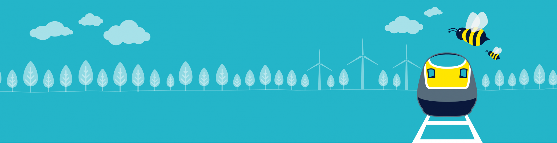 Eurostar train graphic with trees and wind turbines