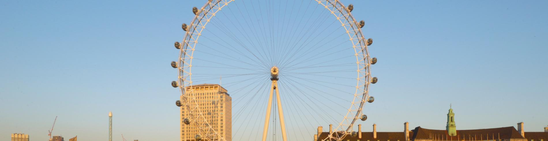 View of the Southbank and London Eye on a sunny day