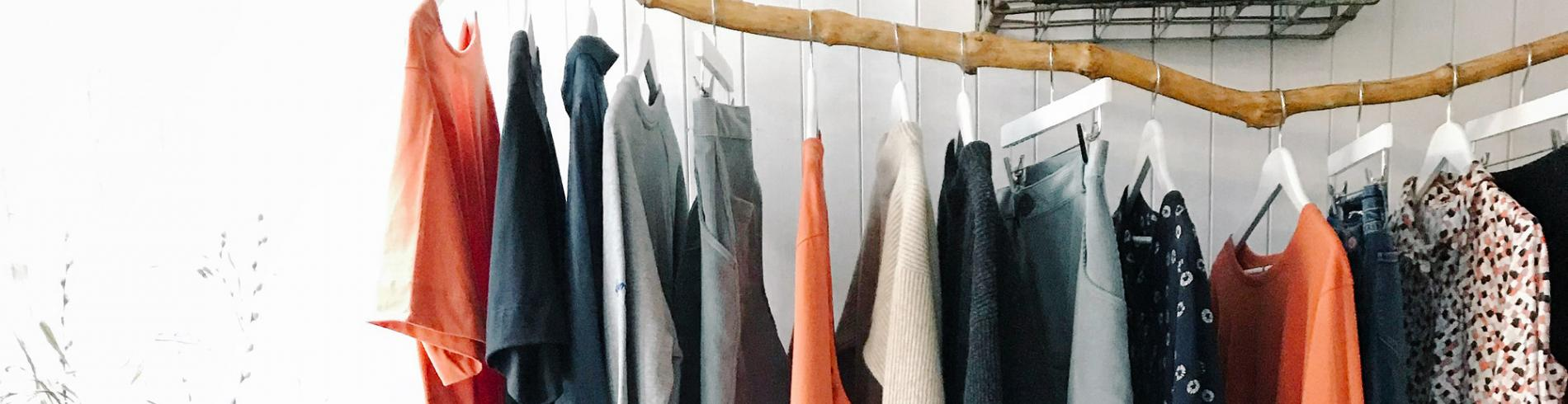 Sustainable fashion on a clothes rack