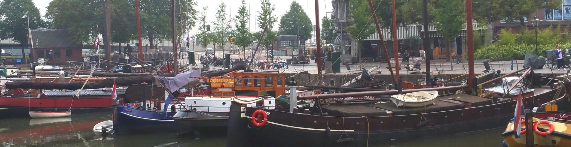 Boats on the water in Rotterdam