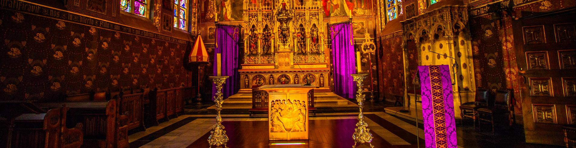 The altar in the Basilica of the Holy Blood in Bruges