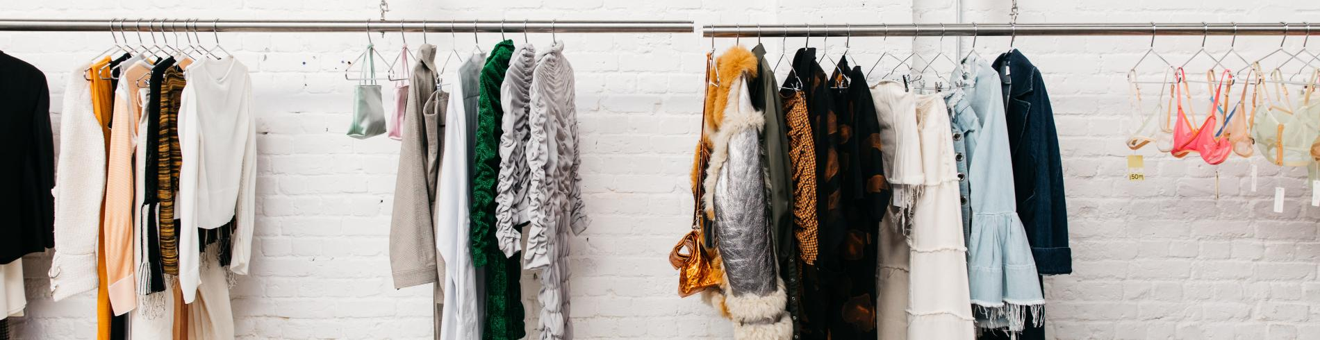 Trendy clothes in concept store