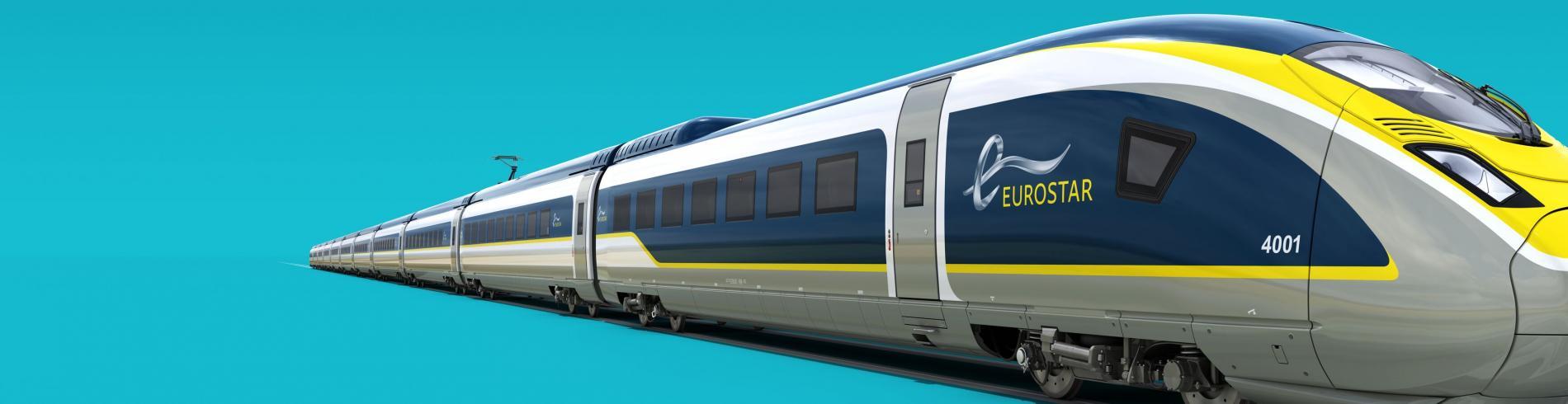 E320 Eurostar train on blue background