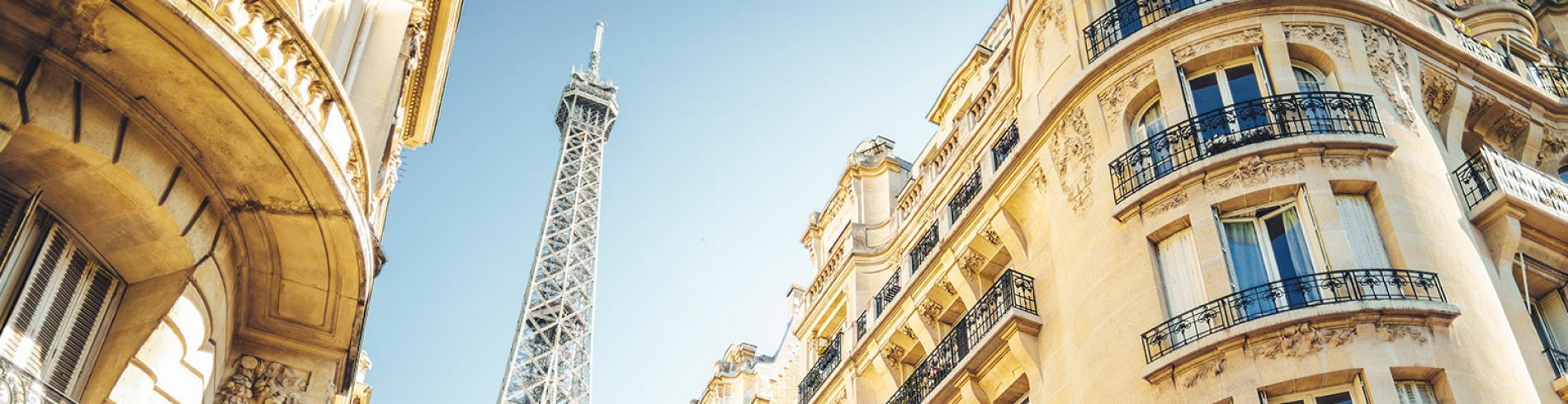 Paris street with Eiffel Tower