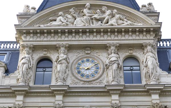 Clock on building