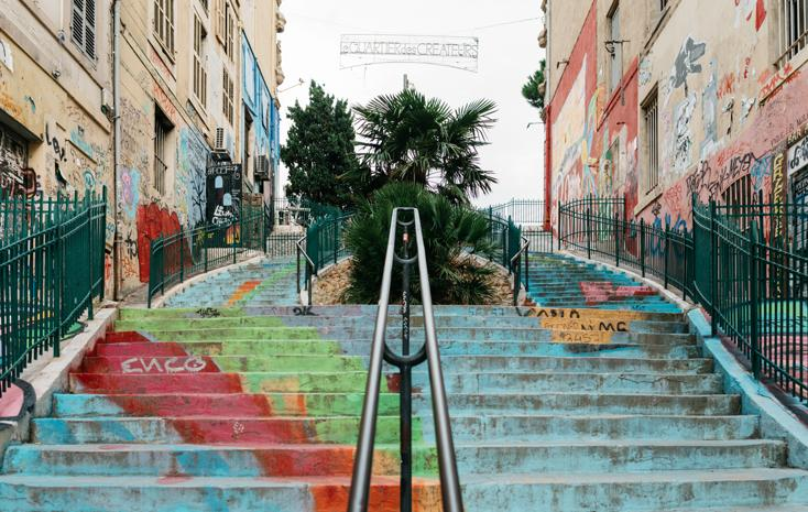 Painted stairs in Marseille, South of France