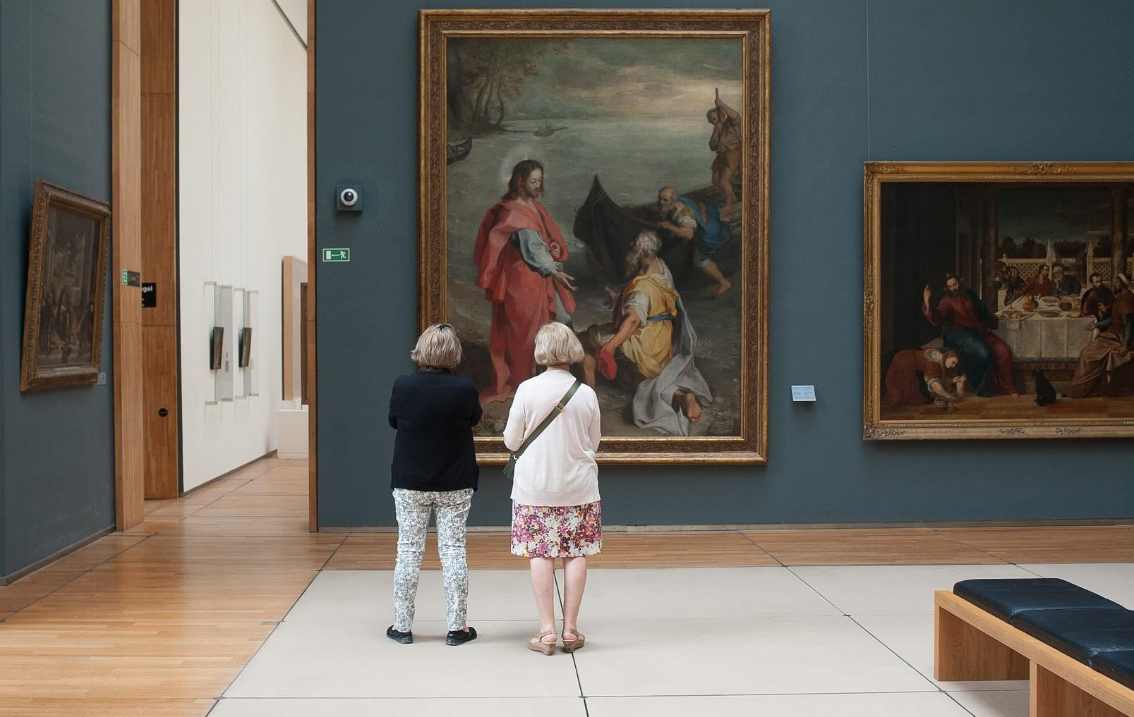Couple looking at art in a museum
