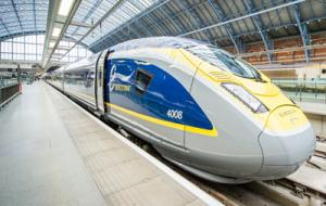 Eurostar train coming into the station