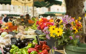 Vegetables and flowers on a market stand in a traditional Provencal market