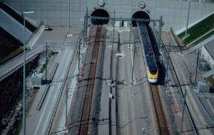 A Eurostar Train leaving the Eurotunnel