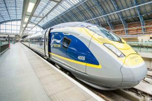 A Eurostar Train at a station