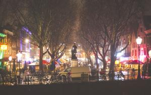 Christmas market on a square in Amsterdam at night