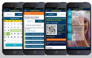 Screenshots of the Eurostar app