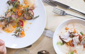 Two dishes from le Potager des Halles restaurant