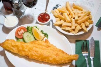 A serving of fish and chips at Toffs