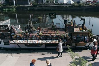 A floating bookshop at King's Cross