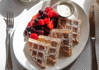 A plate of waffles served at Balthazer in London