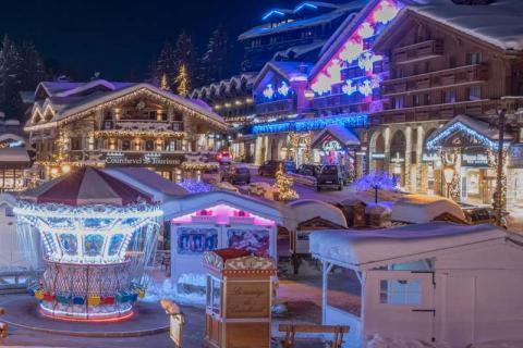 Courchevel village at night