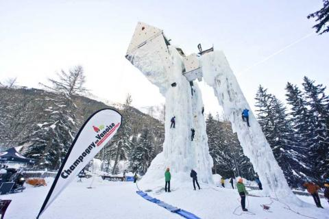 Climbing the ice tower at La Plagne