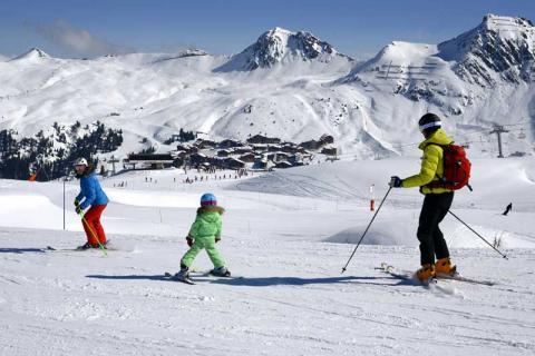 children skiing on the slopes