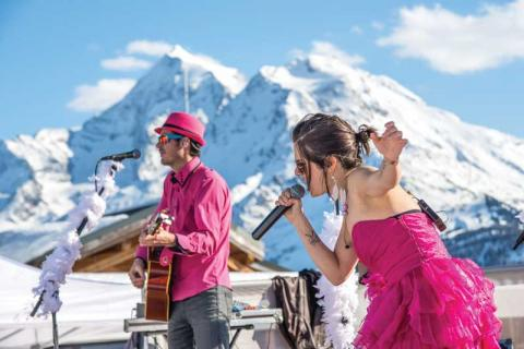 Band playing outside at La Rosiere