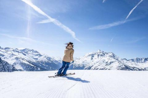 Woman skiing on the slopes