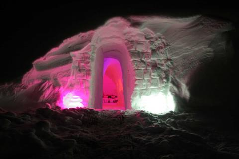 Entrance to one of the igloos in the igloo village in Les Arcs